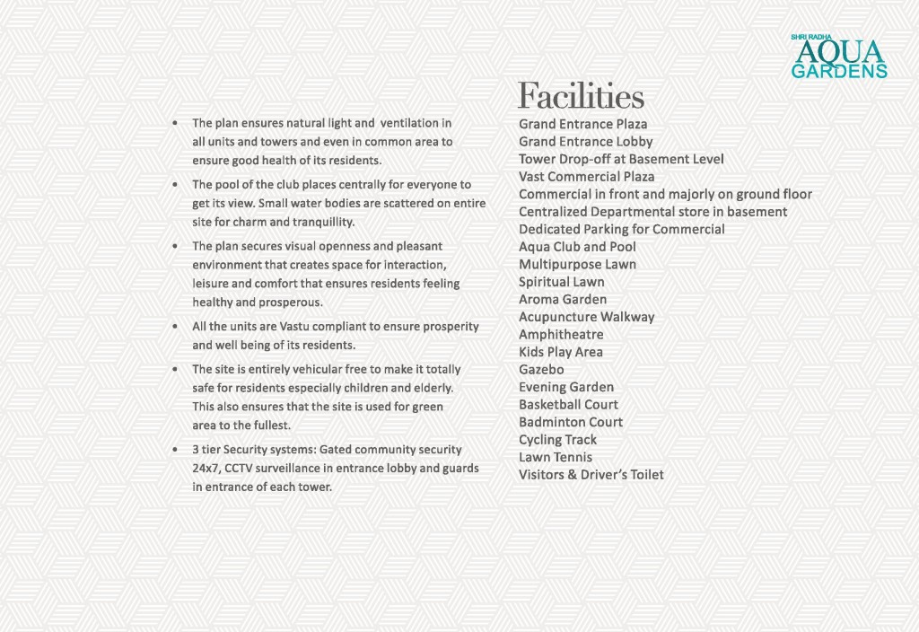 Shri Radha Aqua Gardens specification , Shri Radha Aqua Gardens