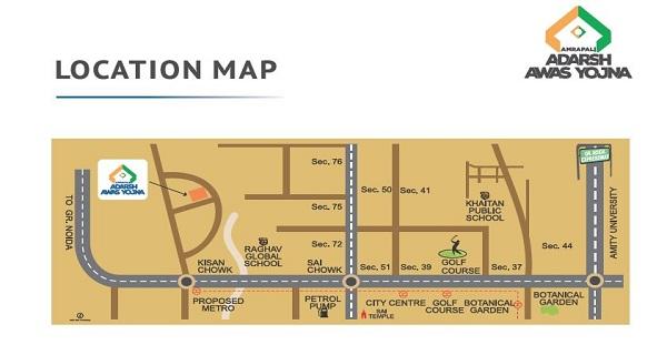 amrapali adarsh awas yojna location map , amrapali adarsh awas yojna