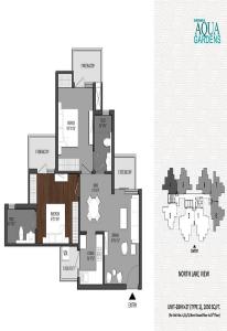 shri radha aqua gardens floor plan 2bhk 2toilet 1050 sq.ft , shri radha aqua gardens