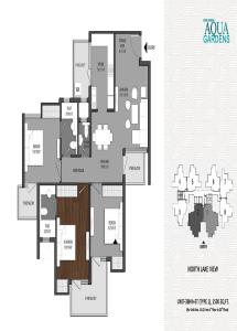 shri radha aqua garden floor plan 3bhk 3toilet 1500 sq.ft