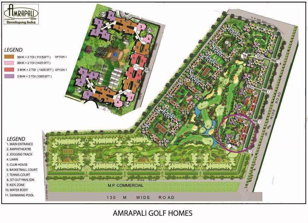 amrapali golf homes site plan , amrapali golf homes