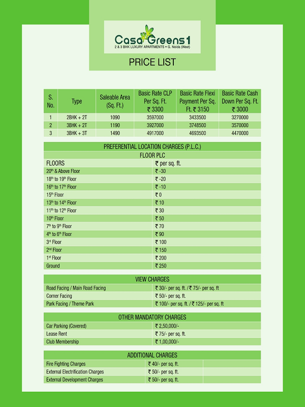 casa greens 1 price list , casa greens 1