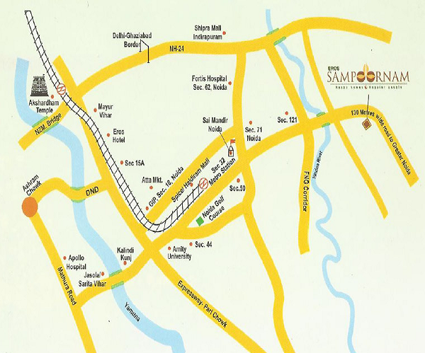 eros sampoornam location map , eros sampoornam