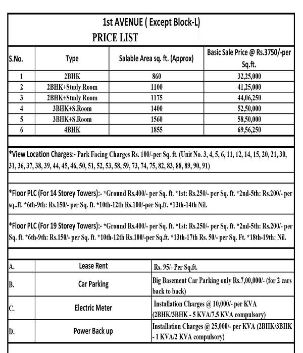 gaur city 1st avenue price list , gaur city 1st avenue