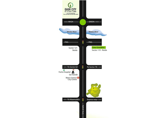gaur city 4th avenue location map , gaur city 4th avenue