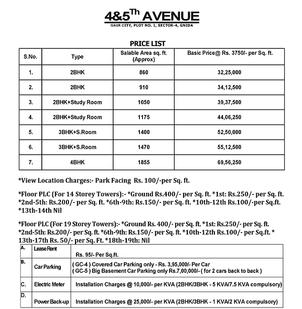 gaur city 4th avenue price list , gaur city 4th avenue