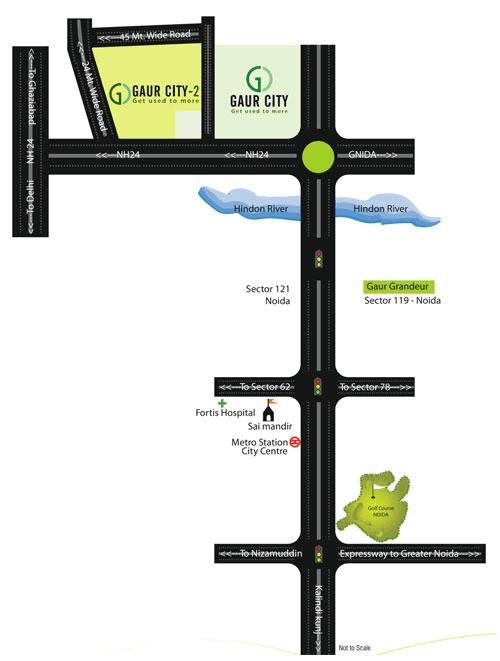 gaur city 5th avenue location map , gaur city 5th avenue