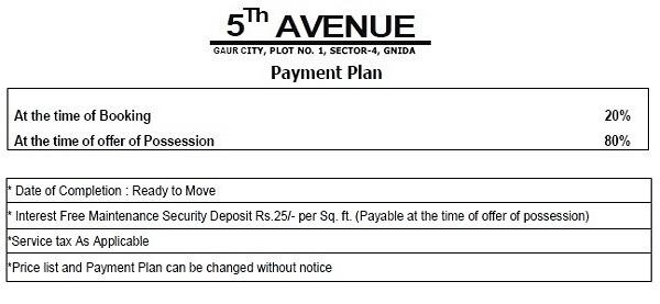 gaur city 5th avenue payment plan , gaur city 5th avenue