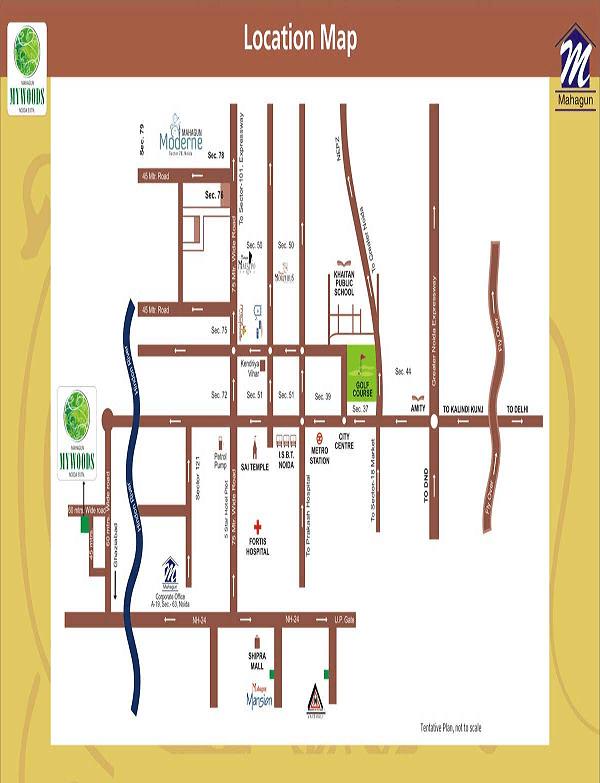 mahagun mywoods phase 3 location map , mahagun mywoods phase 3
