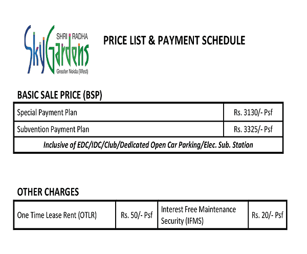 shri radha sky garden price list , shri radha sky garden