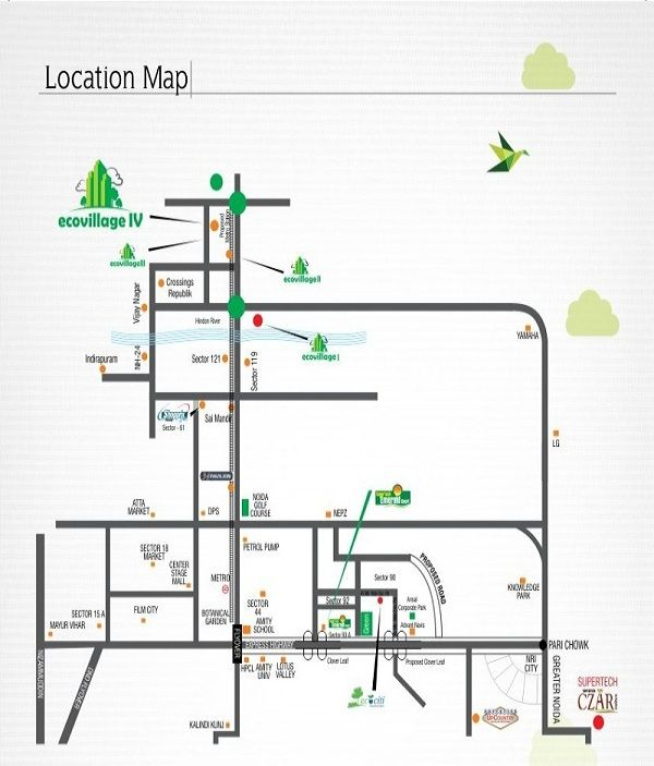 supertech eco village 1 location map , supertech eco village 1