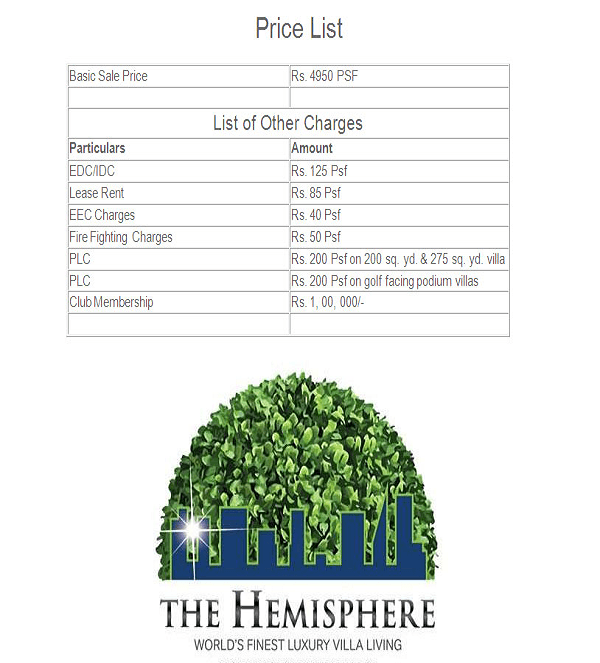 amrapali the hemisphare price list , amrapali the hemisphare