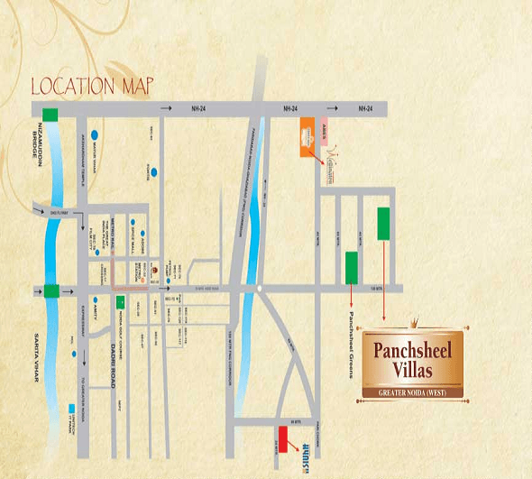 pansheel villas location map , pansheel villas