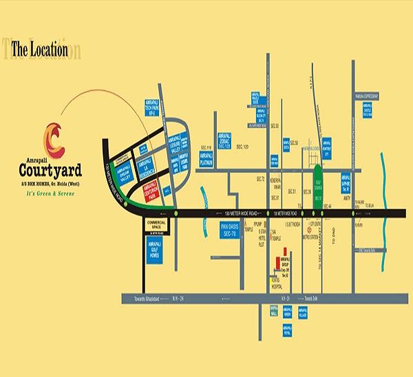 amrapali courtyard location map , amrapali courtyard