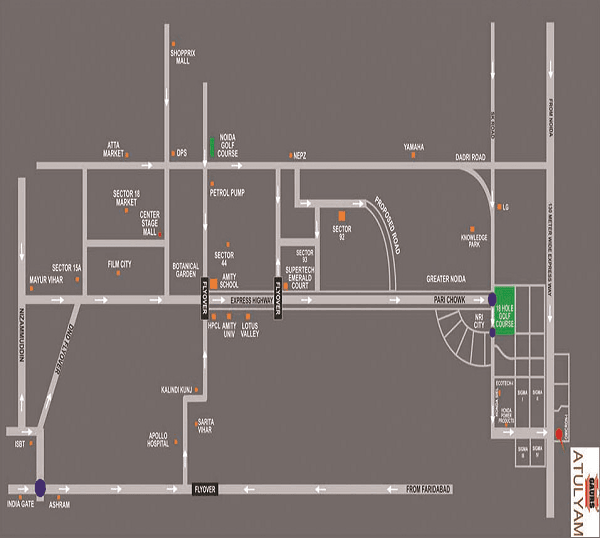 gaur atulyam location map , gaur atulyam