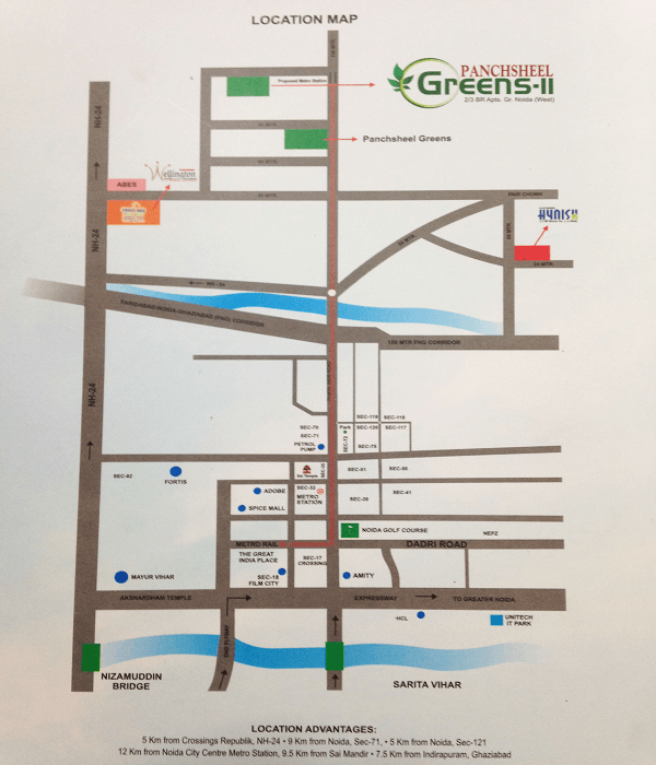 panchsheel greens2 location map , panchsheel greens2