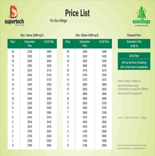 supertech echo village4 price list , supertech echo village4