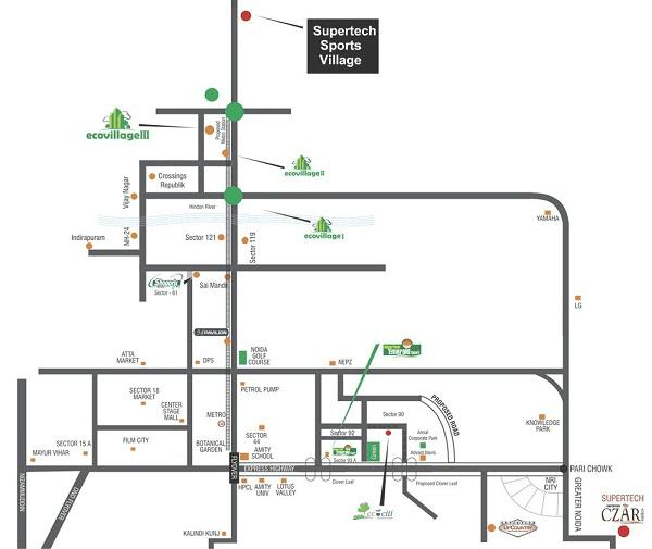 supertech sports village location map , supertech sports village