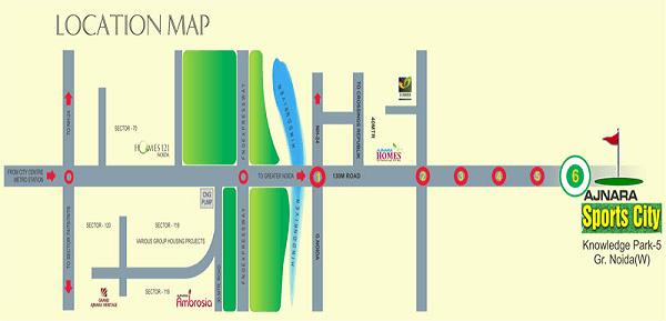 ajnara sports city location map , ajnara sports city