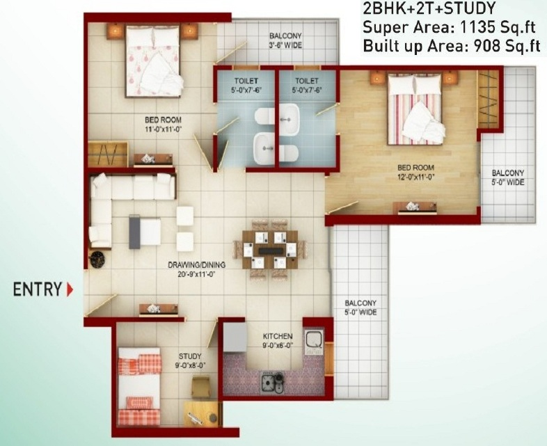 saviour greenarch floor plan 1135-sqft