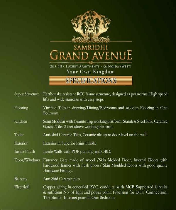 samridhi grand avenue specification , samridhi grand avenue
