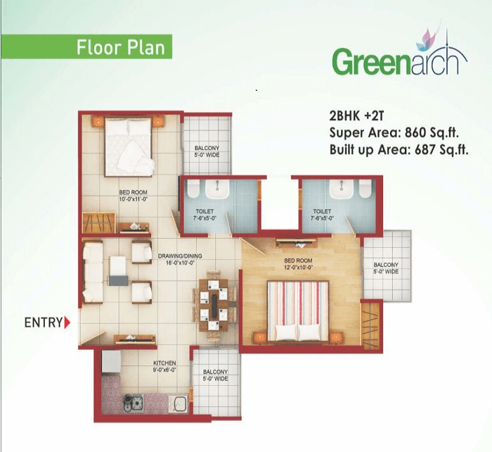 saviour-greenarch-floor-plan-2bhk-2toilet-860-sq-ft , saviour greenarch