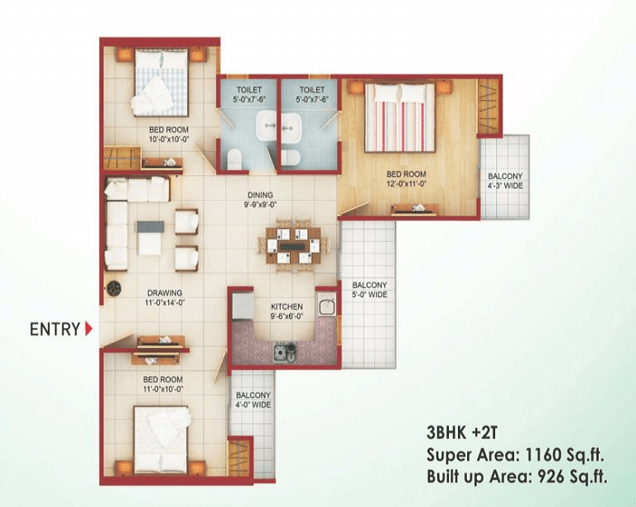 saviour-greenarch-floor-plan-3bhk-2toilet-1160-sq-ft , saviour greenarch