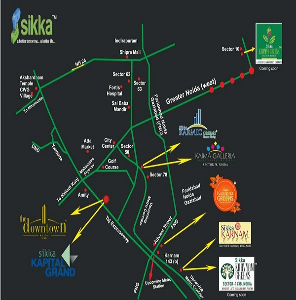 sikka kaamya greens location map , sikka kaamya greens