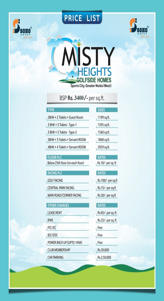 soho misty heights price list , soho misty heights