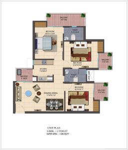 cosmos-shivalik-homes2-floor-plan-3bhk-2toilet-1295-sq-ft