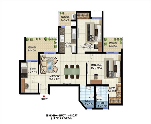 patel-neotown-floor-plan-2bhk-2toilet-1195-sq-ft