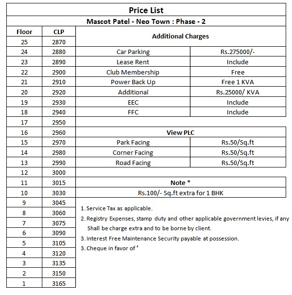 patel-neotown-price-list