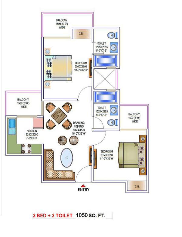 victory-one-amara-floor-plan-2bhk-2toilet-1050-sq-ft