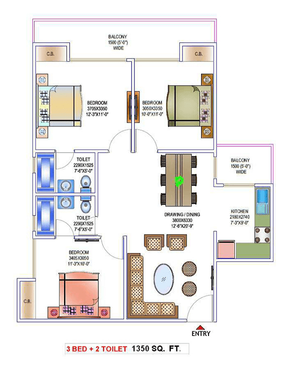 victory-one-amara-floor-plan-3bhk-2toilet-1350-sq-ft