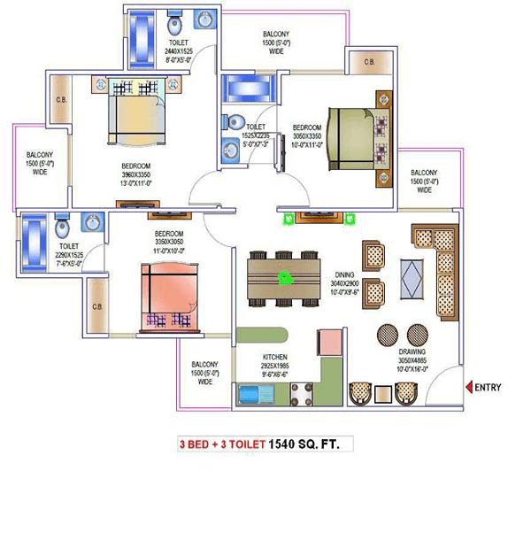 victory-one-amara-floor-plan-3bhk-3toilet-1540-sq-ft