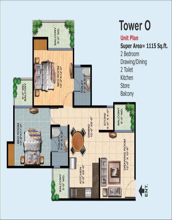 ajnara-homes-floor-plan-2bhk-2toilet-1115-sq-ft