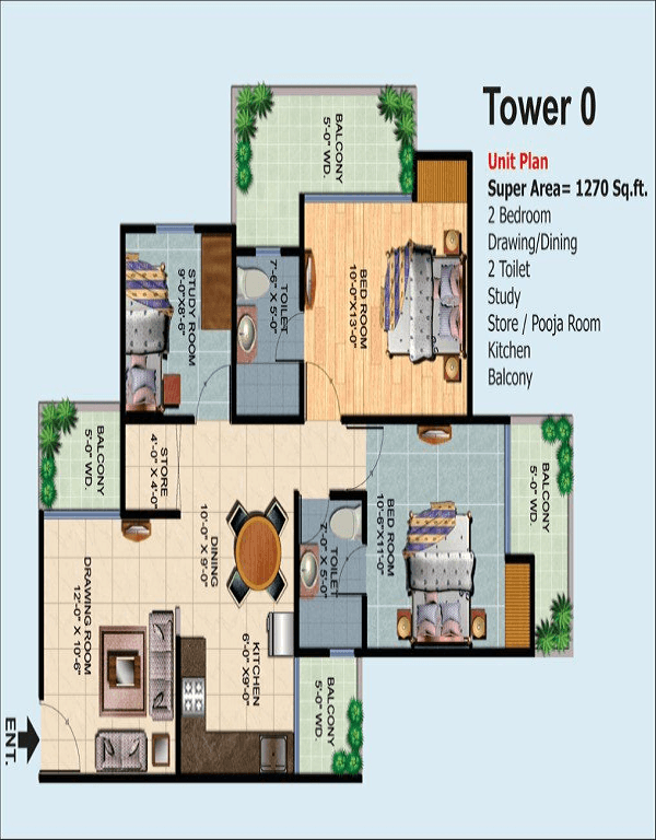 ajnara-homes-floor-plan-2bhk-2toilet-1270-sq-ft