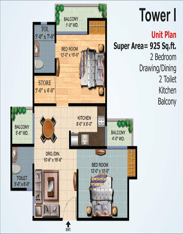 ajnara-homes-floor-plan-2bhk-2toilet-925-sq-ft