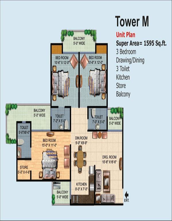 ajnara-homes-floor-plan-3bhk-3toilet-1595-sq-ft