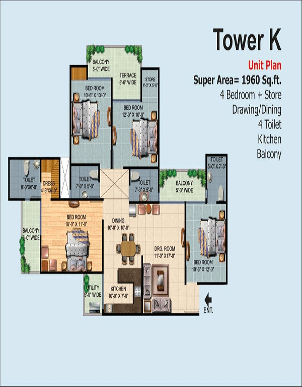 ajnara-homes-floor-plan-4bhk-4toilet-1960-sq-ft