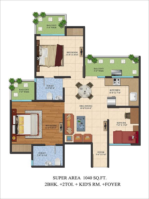 Ajnara Le Garden Floor Plan 2bhk 2toilet 1040 Sq Ft