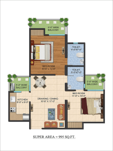 ajnara-le-garden-floor-plan-2bhk-2toilet-995-sq-ft
