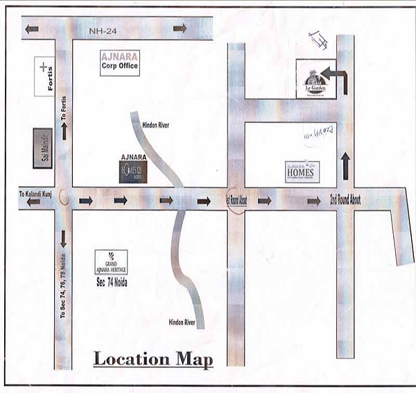 ajnara-le-garden-location-map