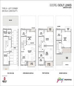 godrej golf links left corner floor plan 2835 sq.ft