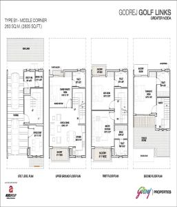 godrej golf links middle corner floor plan 2835 sq.ft