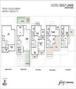 godrej golf links middle corner floor plan 4690 sq.ft