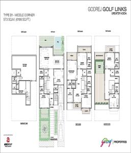 godrej golf links middle corner floor plan 6168 sq.ft