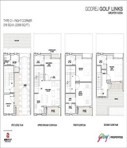 godrej golf links right corner floor plan 2359 sq.ft
