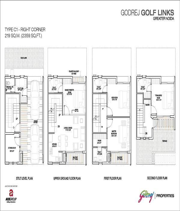 godrej golf links right corner floor plan 2359 sq.ft