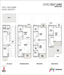 godrej golf links right corner floor plan 2835 sq.ft